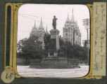 Statue of Bringham Young and the Mormon Temple